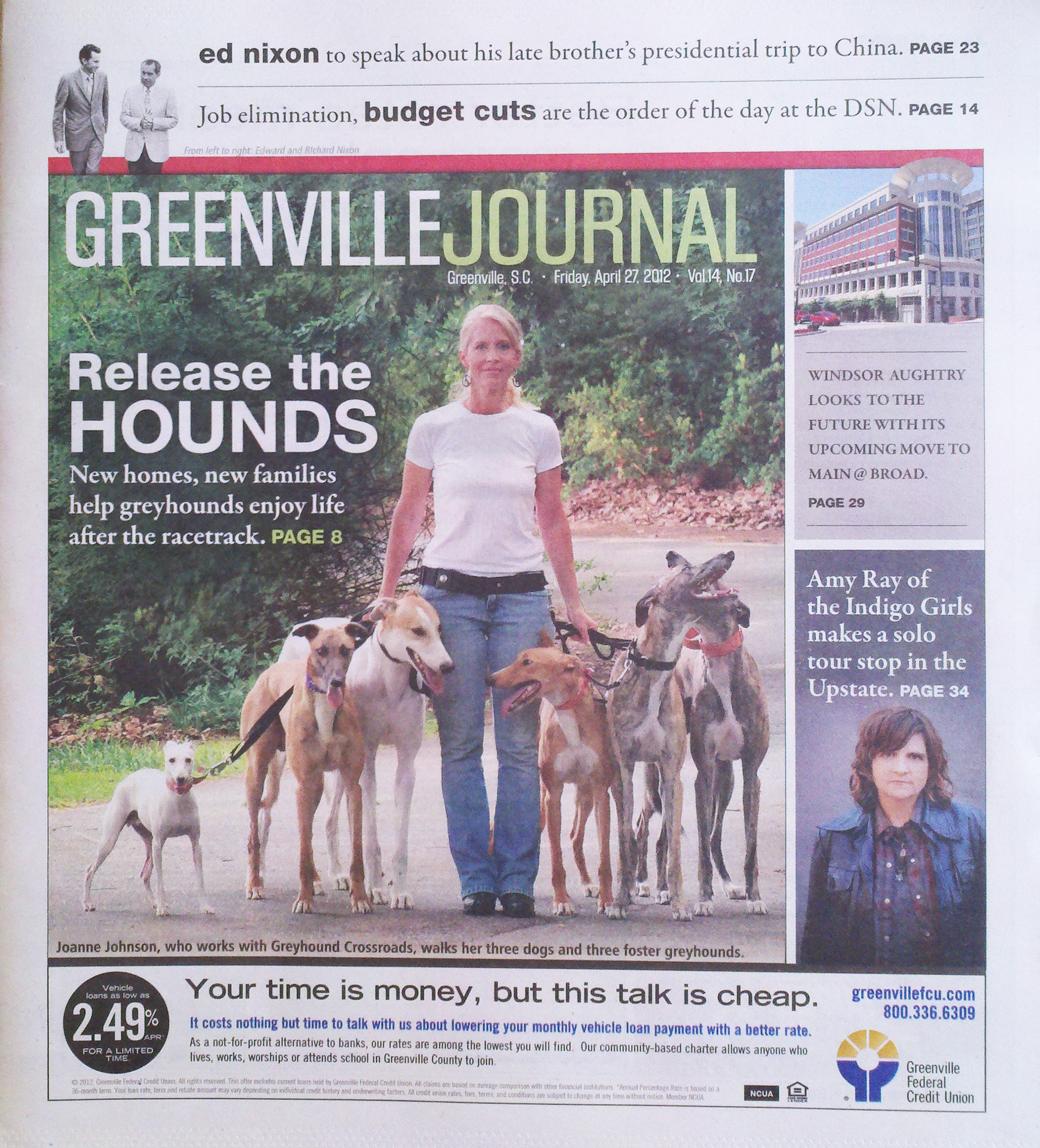 Joanne Johnson in Greenville South Carolina Journal Greyhounds